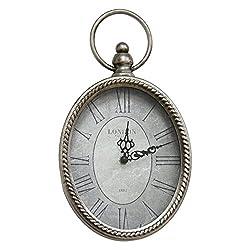 Stratton Home Decor Silver Antique Oval Wall Clock, 6.75 W X 1.75 D X 11.75 H