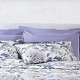 Somma Completo di Lenzuola Copriletto Matrimoniali Envy Blu in Percalle di Puro Cotone