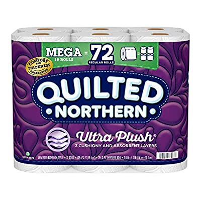 Ultra Plush Toilet Paper, 18 Mega Rolls = 72 Regular Rolls, 3-Ply Bath Tissue