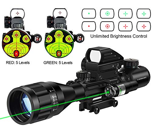 Read About MidTen Riflescope Combo 4-16x50AOEG Dual Illuminated Optics & IIIA/2MW Laser Sight(Red/Gr...