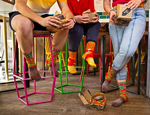 Rainbow Socks - Men Women Funny Vegan Burger Socks Box - 2 Pairs - Size US 9.5-13 EU 41-46