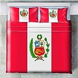 GenericBrands Juego de Cama de 3 Piezas Bandera Peru - 180x210cm Juego de Fundas nórdicas Hipoalergénico 3 Piezas Funda nórdica de Microfibra con cierr 2 Fundas de Almohada