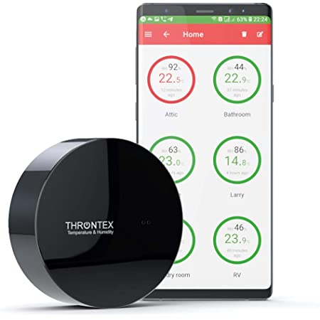 Throntex Wireless Thermometer/Hygrometer | Direct WiFi Connection with Text Message & Email Alarms | Compatible with iPhone + Android + PC