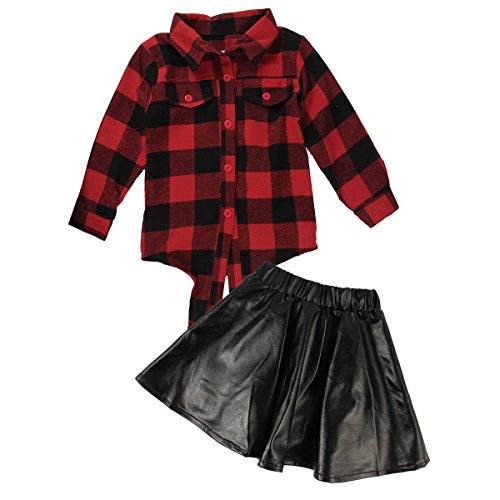 FAMKIT 2-teiliges Baby-Mädchen-Set, langärmeliges Hemd und Lederrock, Freizeit-Anzug-Set Gr. 130 cm, rot kariert