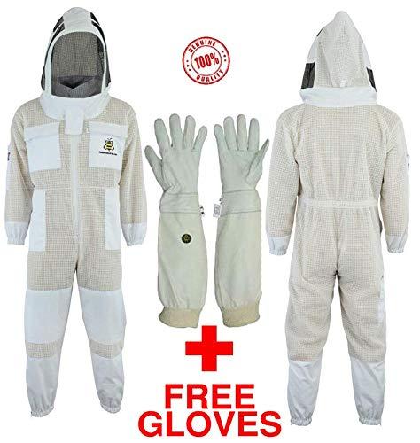 Bee Suits SFVG - Traje de Abeja con Guantes Gratis Capa 3X Seguridad Ultra ventilada Protección Unisex Tela Blanca Malla Traje de Apicultura Traje de Apicultor Traje Esgrima Velo (S)