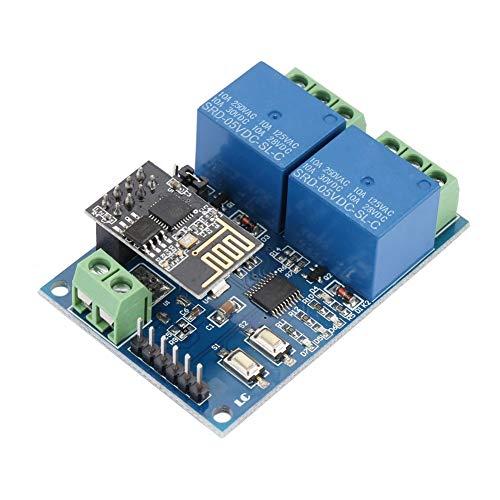 Delaman Dual Channel WiFi-relais, ESP8266 Dual Channel WiFi relaismodule IOT Smart Home Phone APP-afstandsschakelaar, 5 V