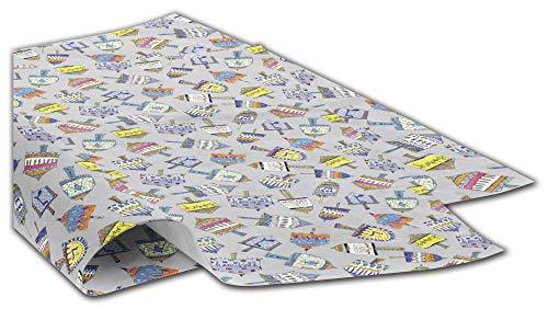Gift WRAP Tissue Paper for Hanukkah, 24 Sheets, Large 20x30, Printed Decorative Tissue Paper for Gift Wrapping (Classic Colorful Dreidels)