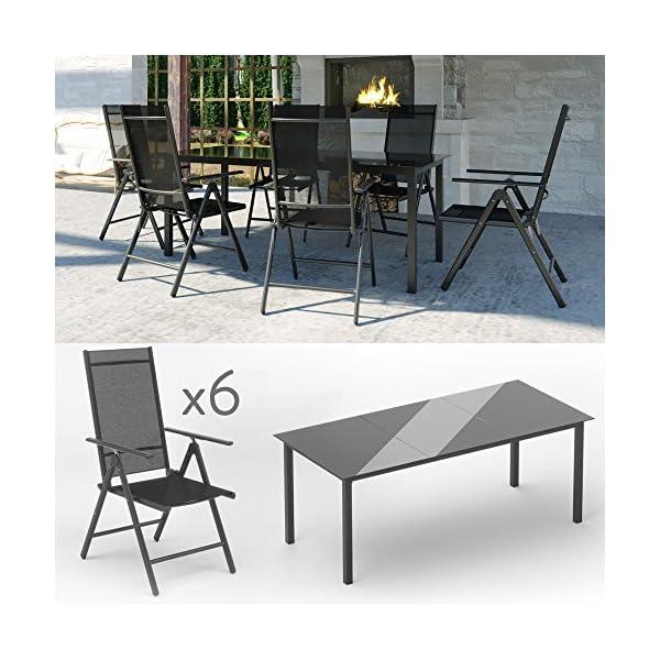 Oskar Alu Sitzgarnitur Gartenmöbel Set 7-teilig Garnitur Sitzgruppe 1 Tisch 190x87 + 6 Stühle (Anthrazit)