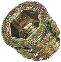"""Hex-Flanged 3//8/""""-16 Internal Threads 25mm E-Z Lok Threaded Insert Zinc"""