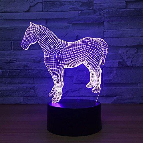 LWJZQT 3d nachtlampje paard 3D kleurrijke verrekijker geleid kleine helder decoratief geschenk van het nachtlampje creatieve gift 3D voor babyruimteverlichting