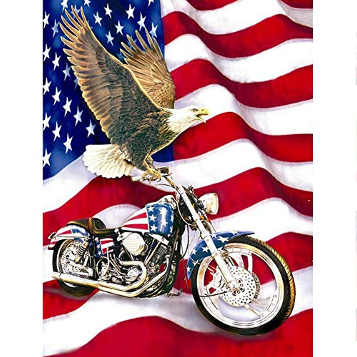 UPMALL DIY 5D Diamond Painting by Number Kits, Full Drill Crystal Rhinestone Embroidery Pictures Arts Craft for Home Wall Decoration American Flag & Eagle 11.8×15.7Inches