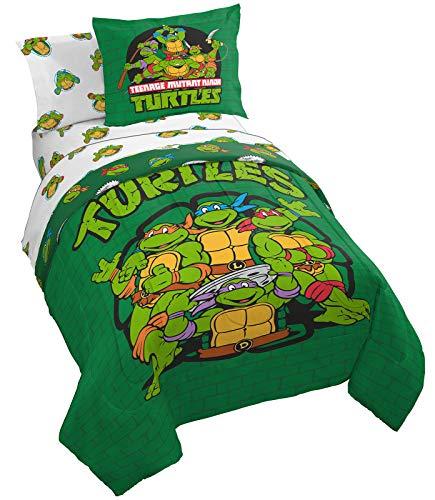 Nickelodeon Teenage Mutant Ninja Turtles Green Bricks 5 Piece Twin Bed Set - Includes Reversible Comforter & Sheet Set Bedding - Super Soft Fade Resistant Microfiber (Official Nickelodeon Product)