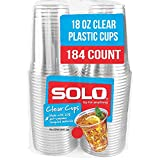 SOLO Cup Company Clear Recycled Plastic Party Cups, 18 Oz, 184 Count