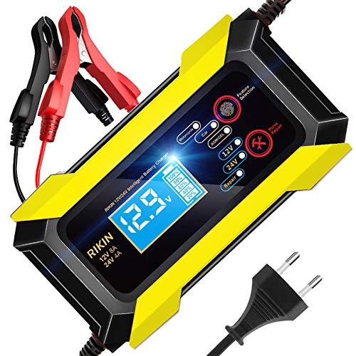 AOKBON Caricabatterie Auto Moto 12V/24V 8A Mantenitore di Carica Auto Multi Protezioni Carica Intelligente Automatico con Schermo LCD per Auto Moto Barche Camion AGM Batterie