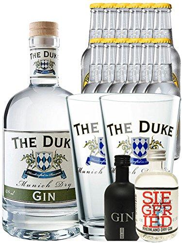 Gin-Set The Duke München Dry BIO Gin 0,7 Liter + Black Gin Gansloser Deutschland 5cl + Siegfried Dry Gin Deutschland 4cl + 12 x Thomas Henry Tonic Water 0,2 Liter + 2 x The Duke Long Drink Glas 0,3 Liter