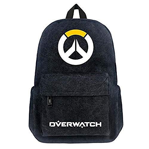 Bkckzzz Für Overwatch Unisex Rucksack Nylon Casual reißverschluss Laptop Rucksack Geburtstagsgeschenk Gaming schwarz Schultasche