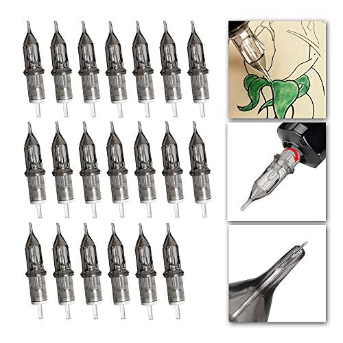 Tattoo Box Nadeln,20 Stück Einstich Tattoo Nadeln, Steril, Einweg-Nadeln, Durchstochen Trokare, Tattoo Zubehör, Für Tattoo-Maschinen, Permanent, Kosmetische Tattoo-Nadeln(3RL,5RL,7RL,9RL)