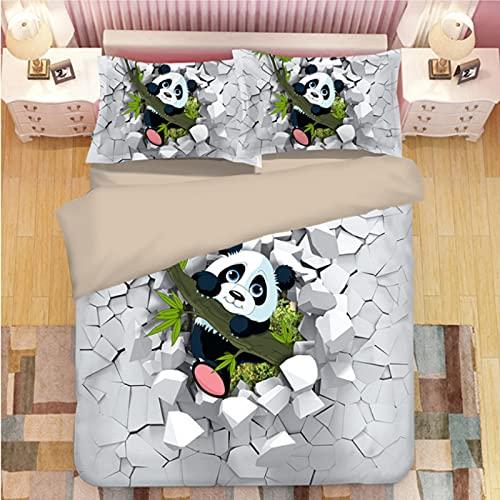 ysldtty 3D Panda Print Bedding Set Duvet Covers Pillowcases Comforter Bedclothes Bed Linen U-1400W 220CM x 240CM With 2 Pice Pillowcase 50CM x 75CM