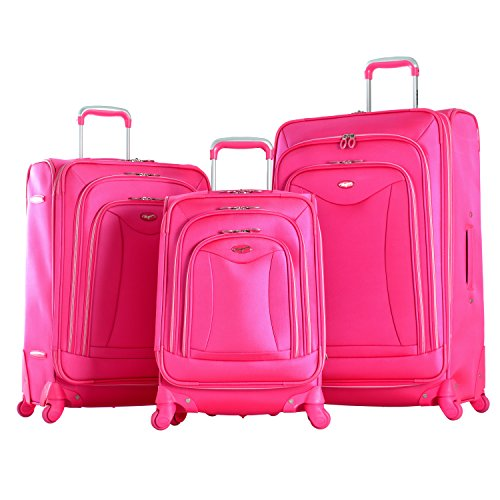 Olympia Luxe 3 Piece Expandable Spinner Set, Hot Pink, One Size