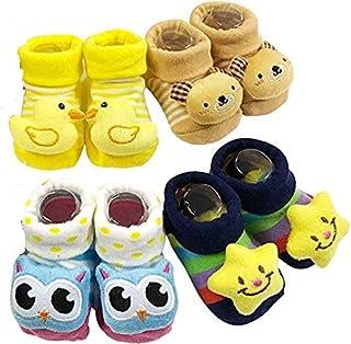 BabyGo Baby Boy's Cartoon Booties Socks Slippers - Pack of 4 pairs ( 0-3 Months )