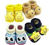 BabyGo Pack of 4 pairs Cartoon Baby Booties Socks Slippers 0-6 Months