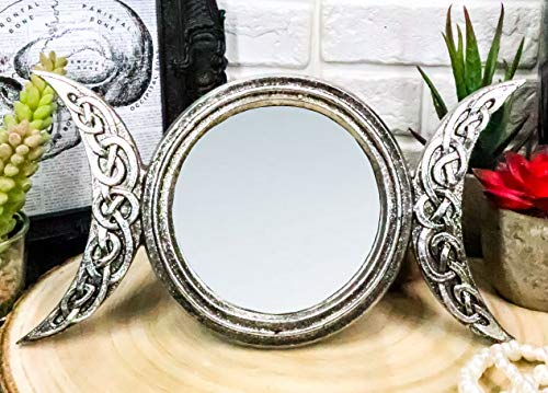 Ebros Wicca Occult Arianrhod Triple Moon Sacred Goddesses Mother Maiden Crone Lunar Cycle Small Vanity Dresser Table Or Wall Mirror Plaque Decor 8.75' Long Figurine