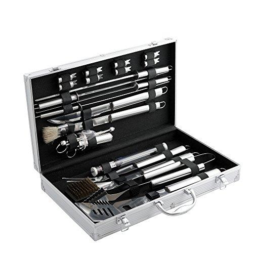 CampFeuer Profi Grillbesteck Set im Koffer I Aluminium Grillkoffer mit Edelstahl Besteck I Grillset mit viel BBQ Accessories (20-teilig)