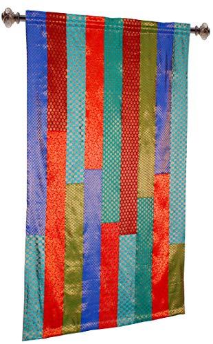 COTTON CRAFT - Set mit 2 Stück Sari-Patchwork-Fensterpaneelen – mehrfarbig 50 x 84 cm Handgefertigt und handgenäht – großzügiger 15,2 cm Saum – wahrlich anspruchsvoller Luxus