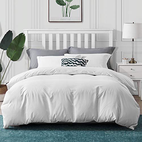 Hansleep Bedding Duvet Cover Set Queen/Full Size 3 Pcs Ultra Soft Brushed Microfiber Hypoallergenic 1x Duvet Cover and 2X Pillow Sham, Anti-Shrink, Wrinkle and Fade Resistant (White, Full/Queen)
