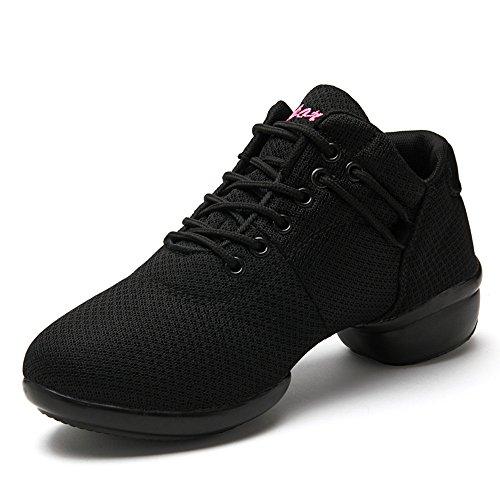 Zapatillas de Baile Deportivos Danza Jazz Elegante para Mujeres Zapatos Suela Blanda Lace up Negro Rosado Rojo Blanco Negro 39