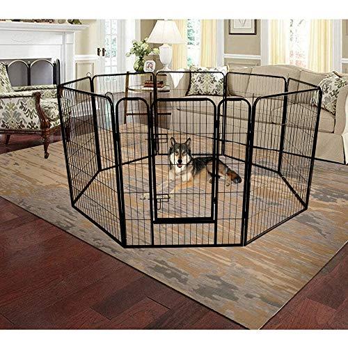 Famyfamy Iron Pet Dog Playpen, Best Large Indoor Metal Puppy Dog Run Fence Pet Playpen Indoor Outdoor Folding Metal Protable Puppy