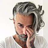 Rossy&Nancy Men's Toupee European Human Hair French Lace Front Replacement Hairpiece for Man Mono Base Tope with PU Around 40% 1B Black Hair Mixed 60% Grey Hair