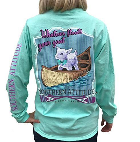 Southern Attitude Whatever Floats Your Goat Seafoam Green Long Sleeve Women's Shirt (Large)