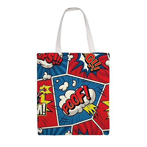 Cloth Shoulder Grocery Shopping Bags Comic Speech Bubbles Seamless Pattern Canvas Tote Bag, Reusable Shopping Bag