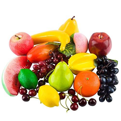 Kyrieval 20 Stück Künstliche Früchte, Künstliches Obst Verschiedene Gefälschte Früchte Lebensechte Realistische Dekoration