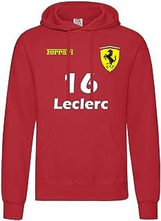 """Felpa con cappuccio PER BAMBINI TAGLIA 9/11 ANNI Ferrari Formula Uno""""16 Leclerc""""""""55 Sainz"""" F1 Inspired"""
