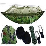 BSTEEN Camping Hängematte mit Moskitonetz, tragbare Hängematte Ultraleichtes Fallschirm-Nylon 2 Personen Reise-Hängematte für Camping, Rucksackreisen, Wandern