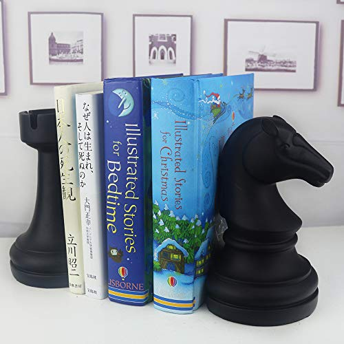 Product Image 2: Decorative Bookends, Unique Book Ends – Supports for Heavy Books, Home Decor Suitable for Office, Home, 7(L) x4(W) x7(H) inch, Black,1Pair/2Piece (Chess bookend)