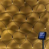 Solar Garden Net Fairy Lights String Outdoor Waterproof Warm White, Auto On/Off, Solar Curtain Light Backyard Patio Starry Fairy String Lights for Wedding Party Wall Roof Decor (100Leds, 1.5m x 1.5m)
