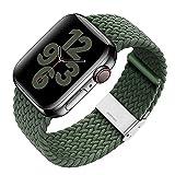 S&J Solo Loop - Correa trenzada de repuesto compatible con Apple Watch 44/42/40/38 mm, correa de nailon/tela ajustable para cada muñeca, iWatch Serie 6/5/4/3/2/1 SE – negro/rojo/verde, 42mm/44mm,