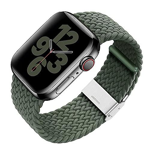 S&J Solo Loop - Cinturino di ricambio intrecciato compatibile con Apple Watch 44/42/40/38 mm in nylon/tessuto regolabile per ogni polso, iWatch Serie 6/5/4/3/2/1 SE - Nero/Rosso/Verde, 38mm/40mm,
