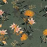 Jersey de algodón con diseño de flores exóticas. Precio por 0,5 metros.