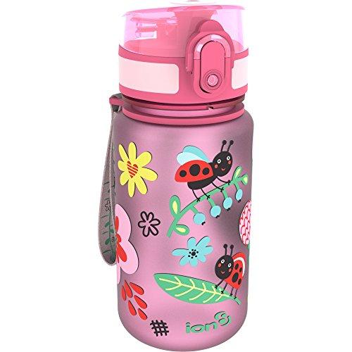 """Ion8- Bottiglia per acqua per bambini con motivo """"Coccinelle"""", a prova di perdite, senza BPA, 350ml"""