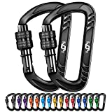 Rhino Produxs 2PCS of 12kN (2697 lbs) Heavy Duty Lightweight Locking Carabiner Clips; Excellent for Securing Pets, Outdoor, Camping, Hiking, Hammock, Dog Leash Harness, Keychains, Water Bottle