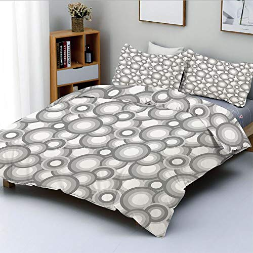 Duplex Print Duvet Cover Set King Size,Various Sized Balls Spiral Circular Formed Round Figures Retro Stylized Art ImageDecorative 3 Piece Bedding Set with 2 Pillow Sham,Grey White,Best Gift for Kids