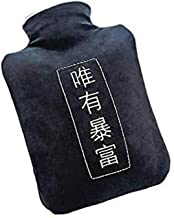 Asdfnfa Large PVC Hot Water Bottle Heat Or Cold Therapy Hot Water Bag with Super Soft Cover Random Color Bottle 2L (Color : Black, Size : One Size)