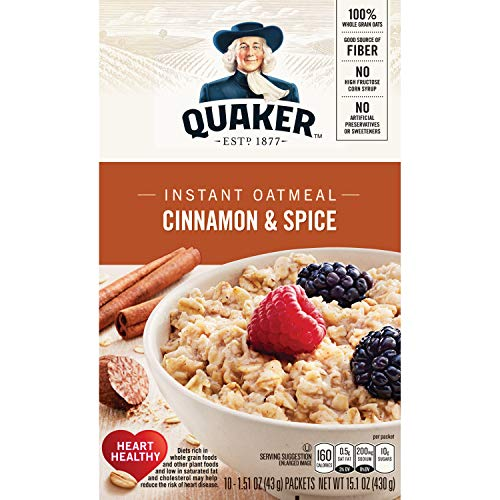 Quaker Instant Oatmeal Cinnamon and Spice 10 Ct