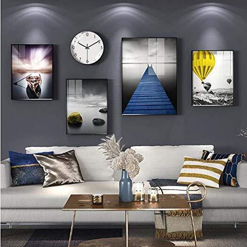 WANGXINQUAN Mural moderno minimalista para colgar en la pared, con relojes y relojes, 195 x 93 cm (cantidad: 5)