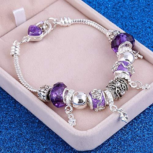 DJMJHG Pulseras y brazaletes con dijes de corazón de Cristal de Lujo Pulseras de Cuentas de Piedra de Color Plateado para Mujer Pulsera de Mujer