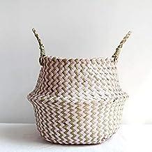 Home Decor- Seagrass Folding Handmade Storage Basket Decorative Rattan Plant Flower Pot Woven Wicker Belly Laundry Basket ...